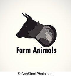 zwierzęta, krowa, chicken., odpoczynek, tło., wektor, animal., sheep, zagroda, editable, projektować, illustration., zwierzę, icon., świnia, logo, grupa, płatowaty, biały