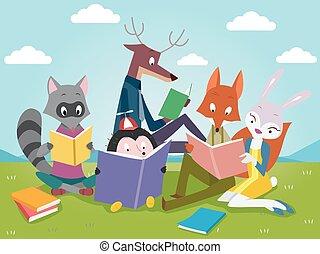 zwierzęta, książki, czytanie, sprytny