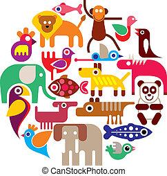 zwierzęta, ogród zoologiczny, -, wektor, okrągły