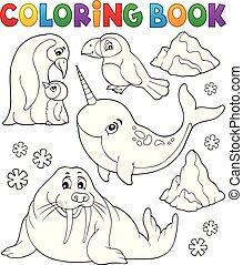 zwierzęta, topic, zima, kolorowanie, 1, książka
