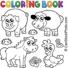 zwierzęta, zagroda, książka, kolorowanie