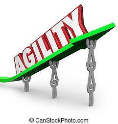 zwinność, pracujący, wyzwanie, szybko, przystosować, drużyna, pokonać