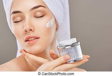 zwracający się, kosmetyk krem