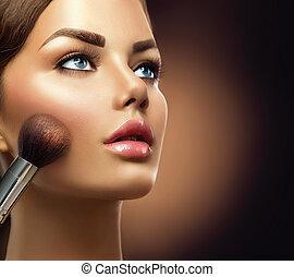 zwracający się, piękno, makeup., closeup, charakteryzacja, dziewczyna, wzór