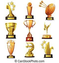 zwycięski, złoty, projekty, trofeum