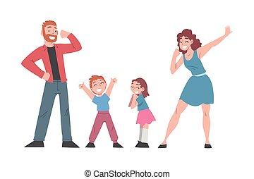 zwycięstwo, rodzina, succes, did, para, szczęśliwy, to, albo, ilustracja, ich, wyrażając, posiadanie, rysunek, pojęcie, wektor, dzieciaki, świętując, zabawa, my