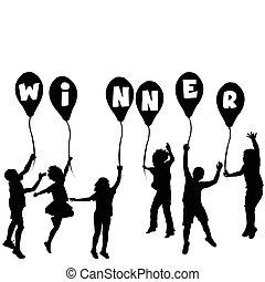 zwycięzca, sylwetka, pojęcie, balony, dzieci