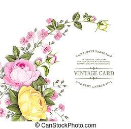 zwyczaj, róża, biały, tekst, różowy, karta, white., kwiaty, zaproszenie, girlanda, card., rozkwiecony kwiat, szablon, tło., na, odizolowany